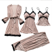 Velour Sleepwear Female with Chest Pads Sexy Women Pajamas Lace Sleep L