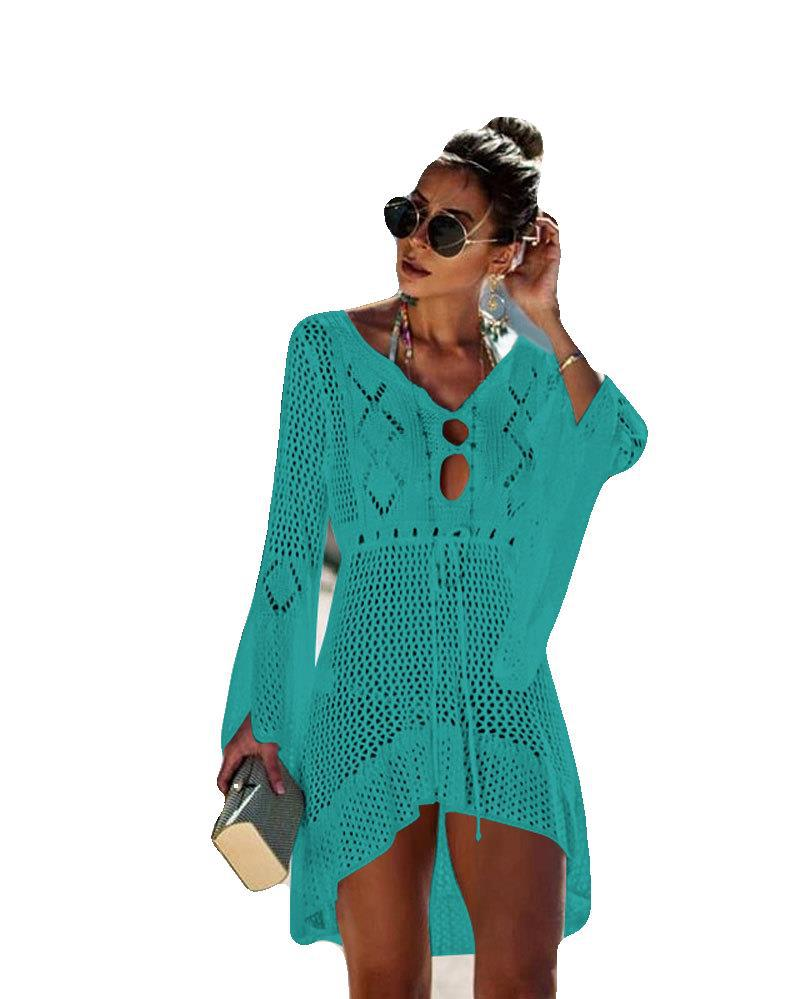 Porous Knitted Bell Sleeve Beach Cover-up Holiday Bikini Outer Blouse European And American-Style Hot Selling Sun Shirt Swimsuit