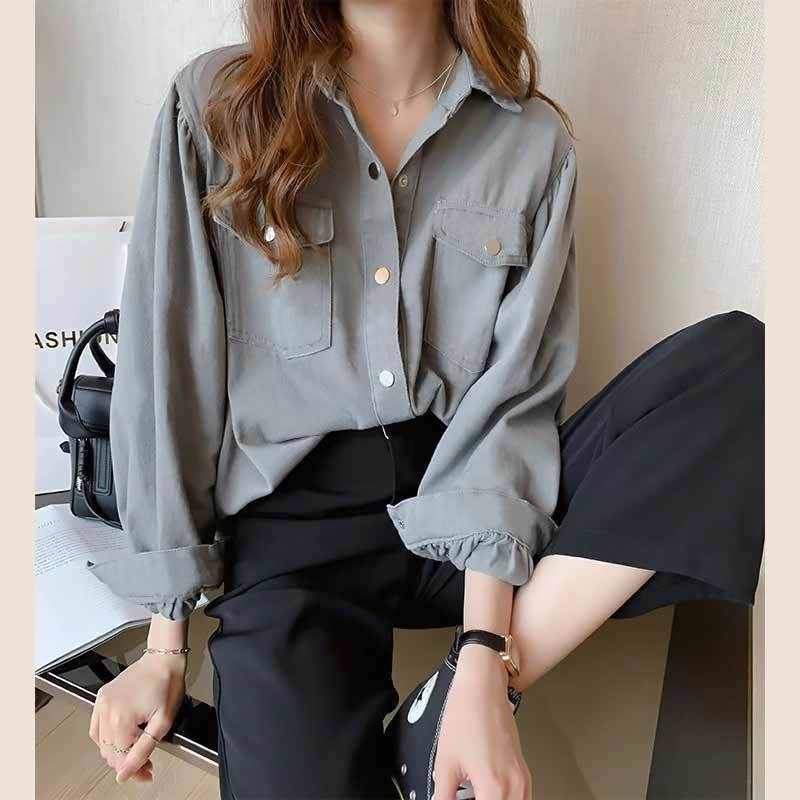 Blouses Shirts Women Spring Pockets Long Sleeve Fashion Solid Korean Style Loose Students Chic Womens Vintage Street Elegant New 8