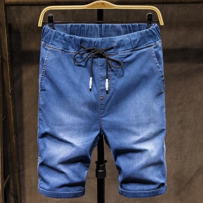 Elastic Denim Shorts Men Trend Sports Casual Shorts Loose-Fit Korean-style Versatile 2019 New Style Summer Thin