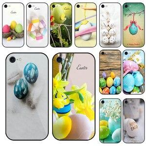 Szkło hartowane etui na telefony komórkowe dla iPhone 5 5S SE 6 6S 7 8 X XR XS Max Plus torby Shell święta wielkanocne deski drewniane jaja