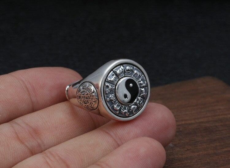2019 Tai Chi potins zodiaque anneau réglable 100% pur 925 argent Sterling pour hommes bague de fiançailles bijoux fins cadeaux d'anniversaire - 6