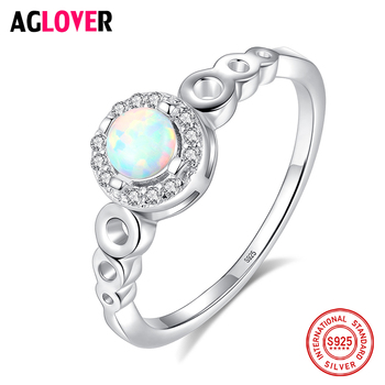 AGLOVER 2019 New Ring 925 Sterling Silver Round Zircon Ring For Women Romantic Wedding Jewelry Girl Christmas Gifts Wholesale