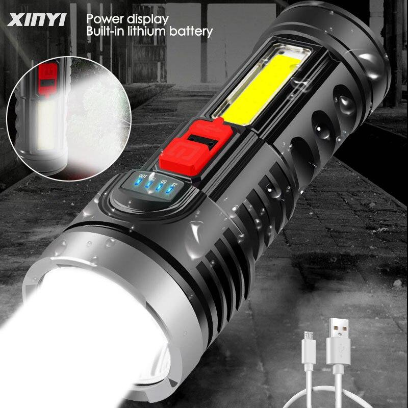 Мощный перезаряжаемый USB фонарик 8000 лм + босветильник фонарь COB 4 режима светодиодный фонарик со встроенным аккумулятором водонепроницаемый...