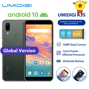 "UMIDIGI A3S Smart Phone Android 10 Global Band 3950mAh 16MP+5MP MT6761 5.7"" 2GB+16GB Smartphone 13MP Selfie Dual 4G Triple Slots"