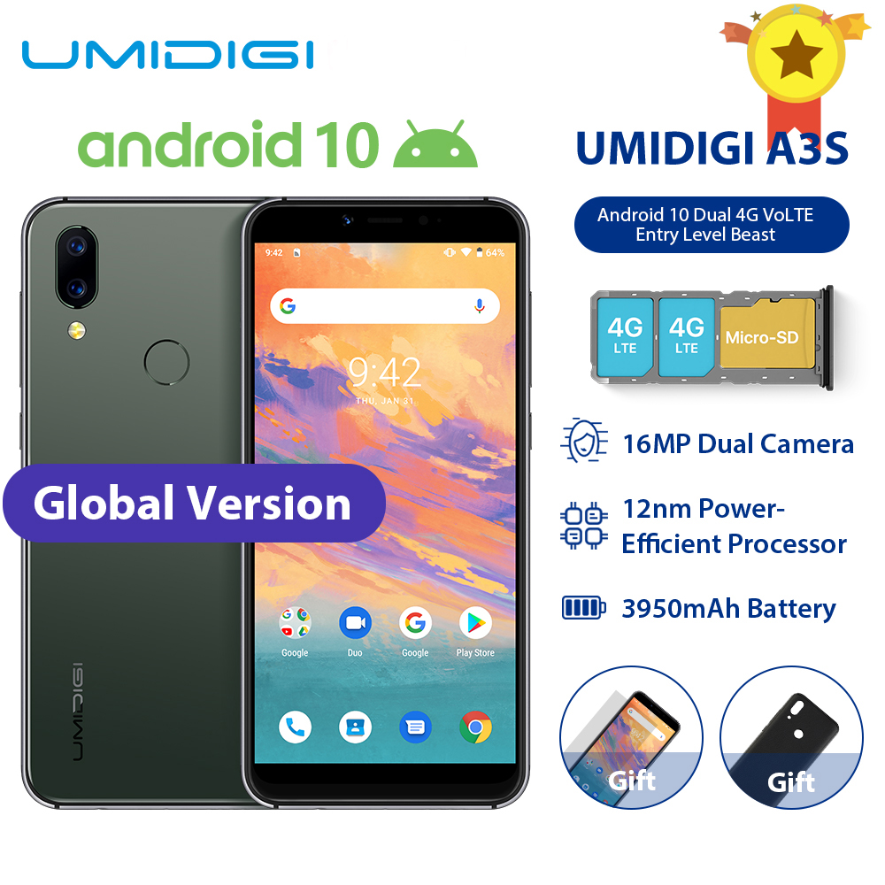 UMIDIGI A3S Smart Phone Android 10 Global Band 3950mAh 16MP+5MP MT6761 5.7