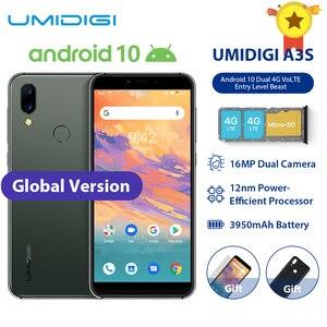 Смартфон UMIDIGI A3S, Android 10, глобальная полоса, 3950 мАч, 16 Мп + 5 МП, MT6761, 5,7 дюйма, 2 ГБ + 16 ГБ, смартфон, 13 МП, селфи, двойной, 4G, три слота