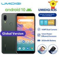 """UMIDIGI A3S inteligentny telefon Android 10 globalny zespół 3950mAh 16MP + 5MP MT6761 5.7 """"2 GB + 16GB Smartphone 13MP Selfie podwójny 4G potrójne gniazda"""