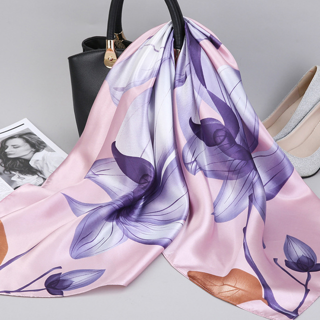 2019 Fashion Kerchief Silk Satin Neck Scarf For Women Print Hijab Scarfs Female 90*90cm Square Shawls and Wraps Scarves For Lady 4