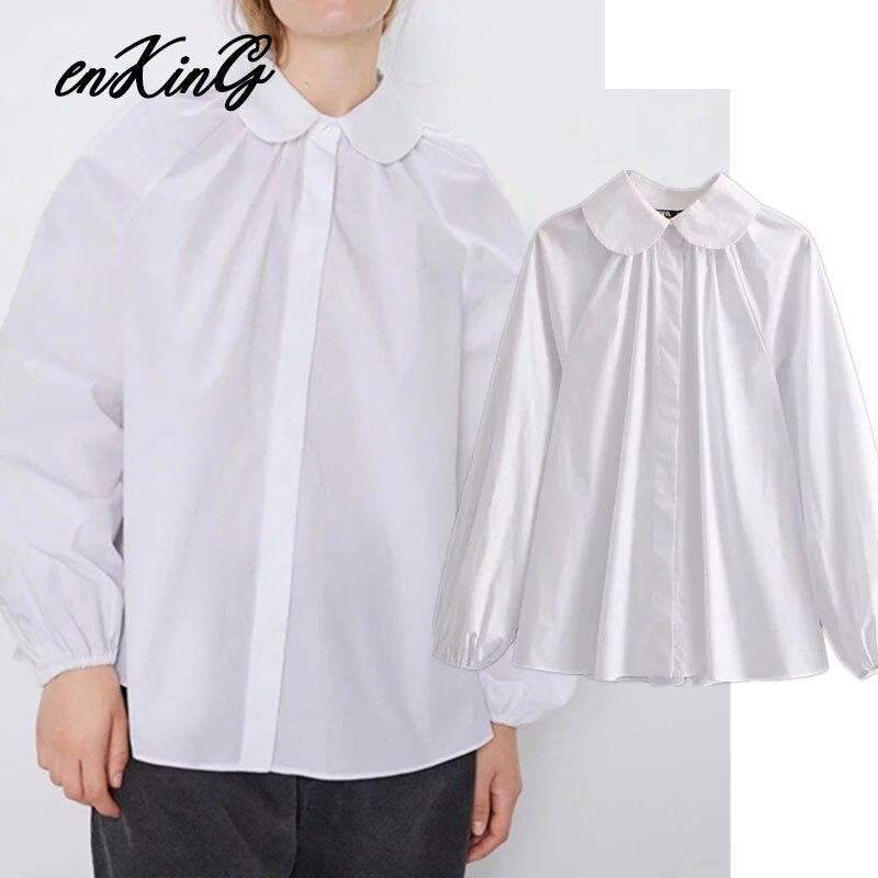 2019 england elegant vintage 100% cotton white peter pan blusas mujer de moda 2019 kimono shirt women womens tops and tshirt