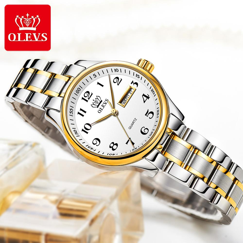 OLEVS Classic Women Quartz Watch Waterproof Stainless Steel Watchstrap Fashion Women Watch Gift Date Clock