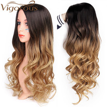 Vigorous Long Ombre Brown Blonde Wavy Wig Natural Hair Part Synthetic Wigs for Black/White Women Cosplay Party Wig цена 2017