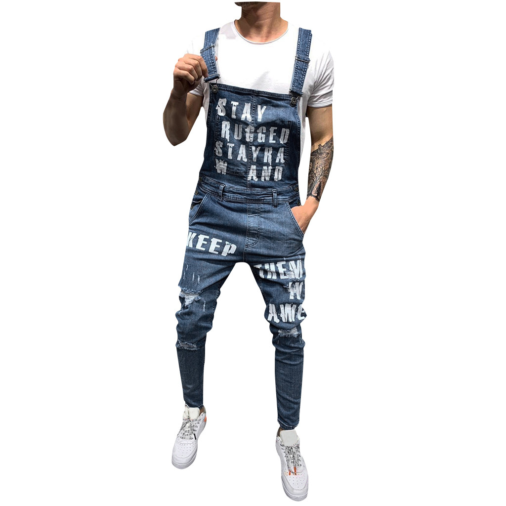 Jeans New Hot Sale Fashion Mens Hole Pocket Jeans Overall Long Jumpsuit Streetwear Overall Suspender Pants High Quality