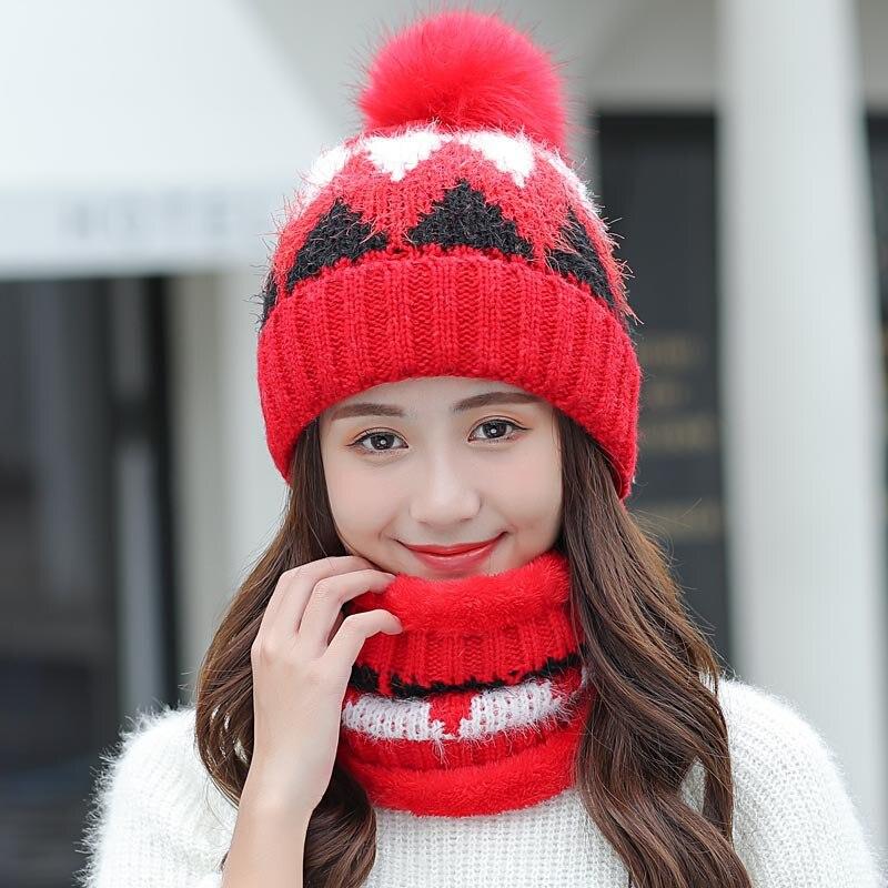 Women's Velvet Knit Hats Lady Winter Fashion Diamond Stitching Wool Beanies Hat With Bib Female Outdoor Windproof Skullies Caps