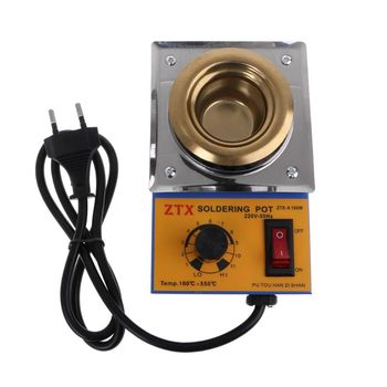 цена на AC 220V 150W Lead-free Adjustable Temperature Controller Soldering Pot Melting Tin Pot Tin Cans with EU Plug