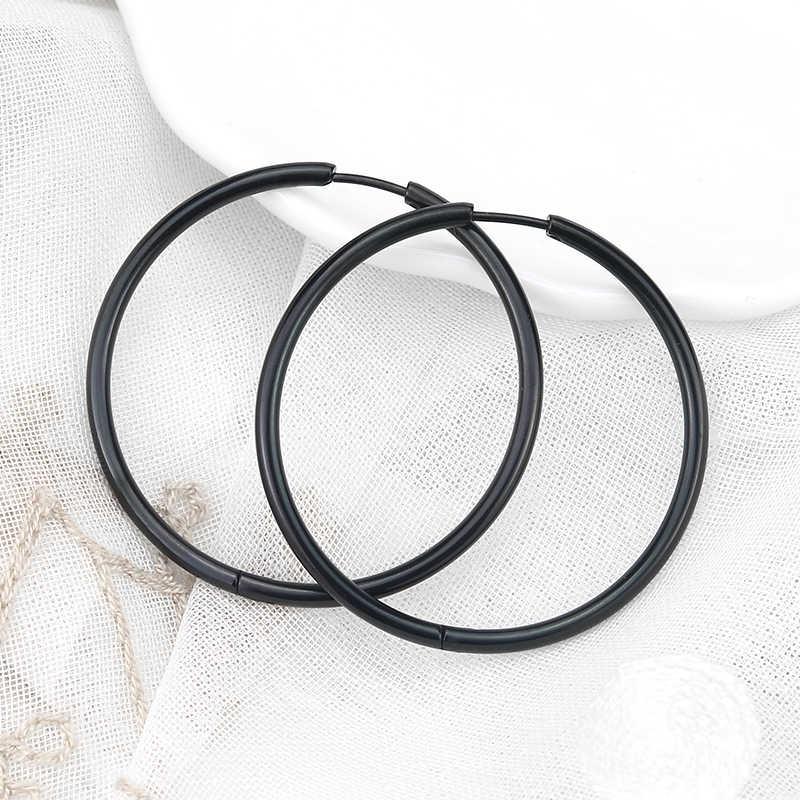 Innopes อินเทรนด์ Unisex รอบวงกลม Ear Buckle ต่างหูสีดำ Punk ต่างหูไทเทเนียมผู้ชายผู้หญิงเครื่องประดับ