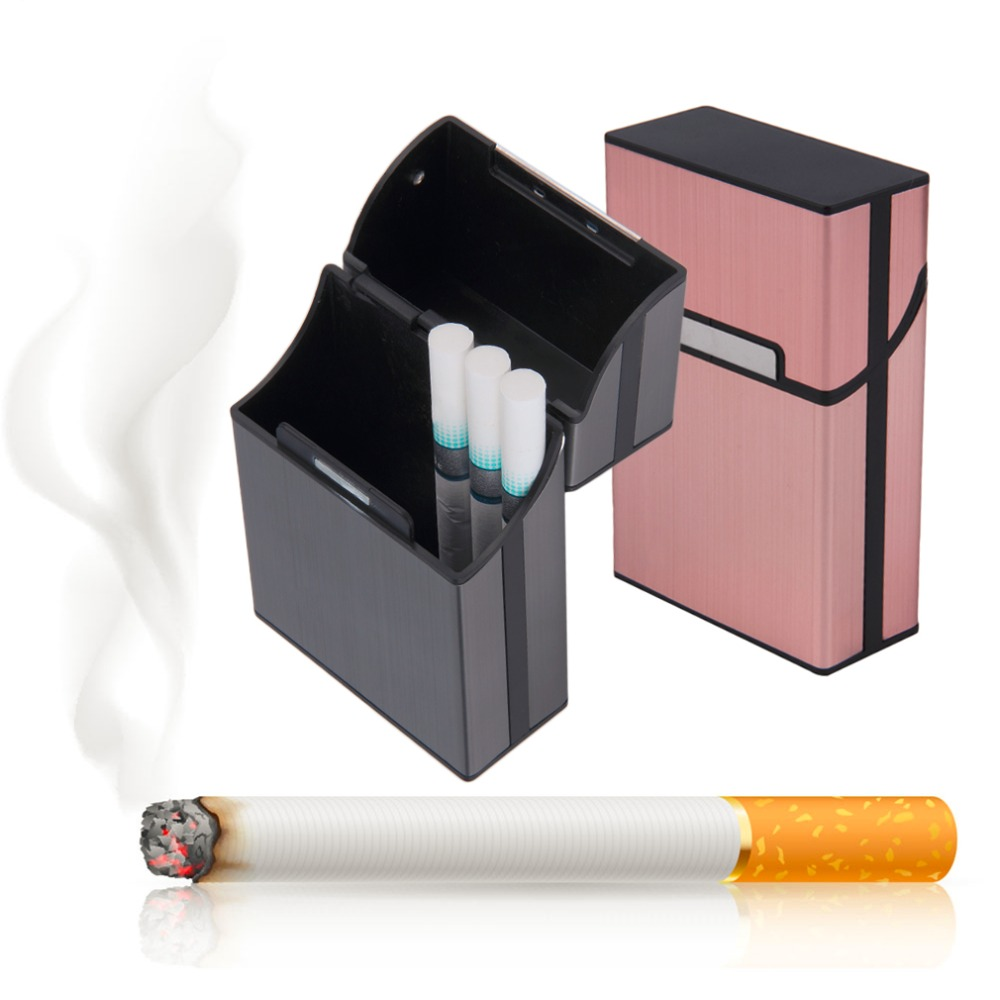Aluminum Cigarette Case Pocket-box 6 Solid Colors Tobacco Cigarette Case Box Holder Container Smoking Pouch for 20 Cigarettes