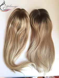 Dark Rooted Highlight Color Virgin European Hair Jewish Topper Women Hair Piece Whopper