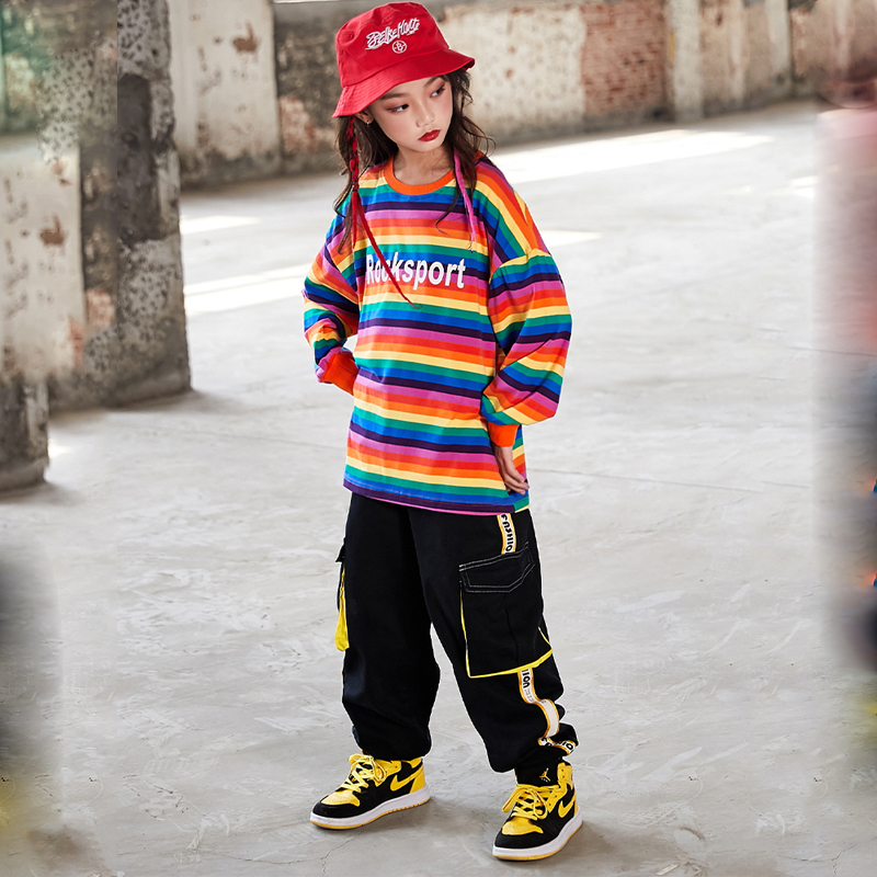 Hip-Hop Children Street Dance Costume Boys Loose Shirts Pants Hiphop Clothing For Girls Jazz Street Dance Stage Outfits DQS3300
