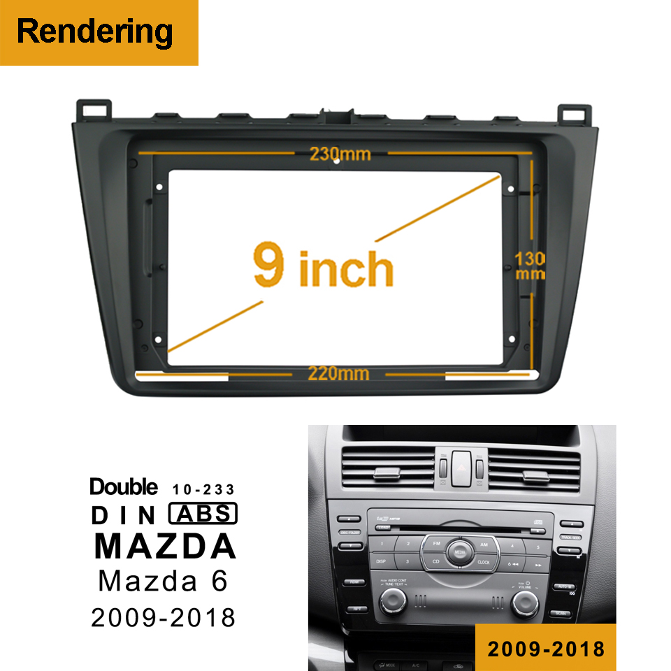 2din 1Din Car DVD Frame Audio Fitting Adaptor Dash Trim Kits Facia Panel 9 inch For <font><b>MAZDA</b></font> <font><b>6</b></font> 2009-2018 Double <font><b>Din</b></font> Radio Player image