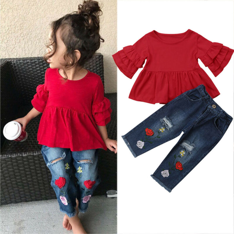 >PUDCOCO Kids Baby Girls Summer <font><b>T</b></font>-<font><b>Shirt</b></font> Tops Dress Clothes+Embroidery Flowers <font><b>Jeans</b></font> Pants <font><b>Outfit</b></font> Set 1-6Years
