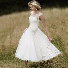 Thinyfull Vestido De Noiva 2019 New Summer A Line Sheer Sleeveless Chiffon Tea Length Beach Wedding Dresses Bridal Gowns Custom