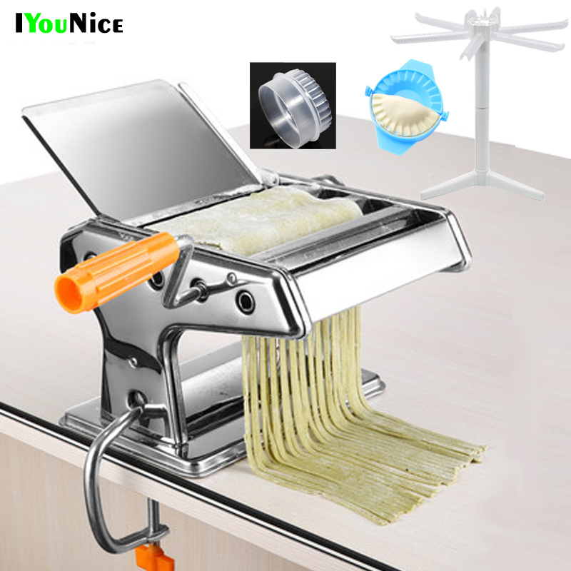 Stainless Steel ordinary 2 Blades Pasta Making Machine Manual Noodle Maker Hand Operated Spaghetti Pasta Cutter Noodle Hanger image