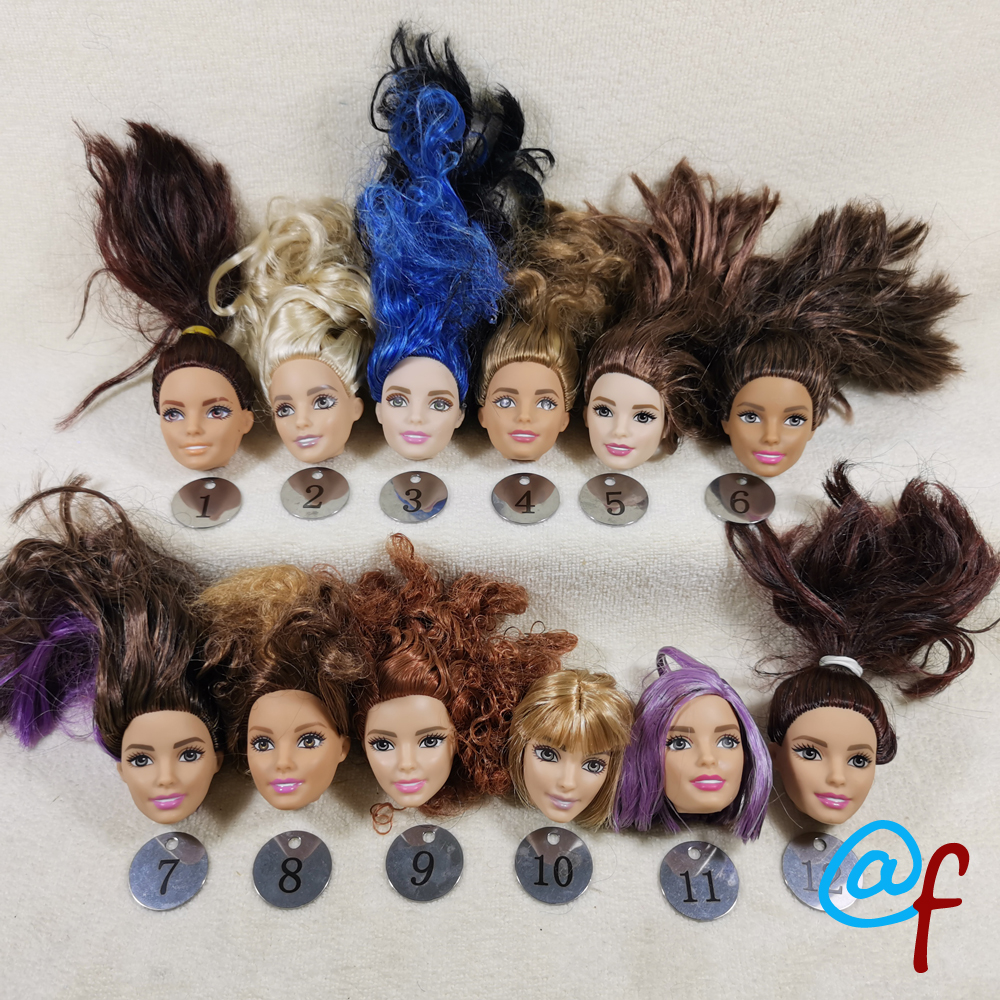 B666-3 Original Foreign Trade West Asia Dimples Beauty 1/6 OOAK NUDE Doll Head Mussed MIXED Hair For DIY