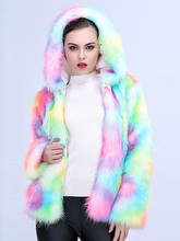 Color Fur Winter Fashion Coat Women Faux Fur Hood Quality Elegant Covered Button Fluffy Jacket Plus Size Designer Casual Slim недорого