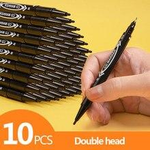 10 PÇS/LOTE Dupla cabeça marcadores Preto/Azul/Vermelho conjunto de canetas marcador Oleosa permanente arte esboço caneta Papelaria