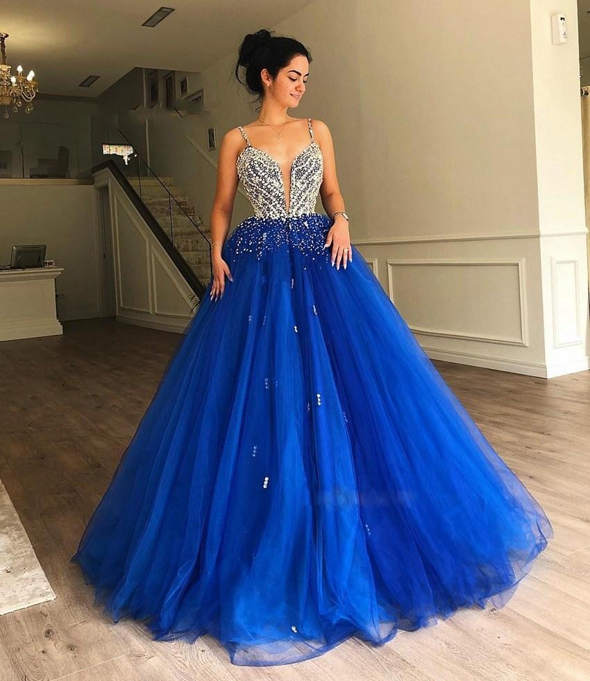 Paillettes cristal princesse robes De Bal bretelles Spaghetti chérie bleu Royal arabe Robe De soirée Robe De Bal Femme Longue