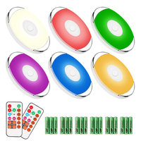 Battery Operated RGB LED Cabinet Puck Lights,Wireless Stick on Under Cabinet Lighting with Remote Control
