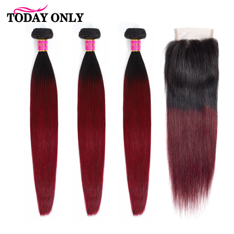 TODAY ONLY Ombre Brazilian Hair Weave Bundles With Closure Straight Hair Bundles With Closure Remy Burgundy Bundles With Closure