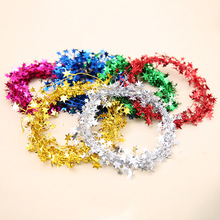 Navidad 2019 New Year Decoration Christmas Tree Decorations Color Strips Five Stars Rattan Multicolor