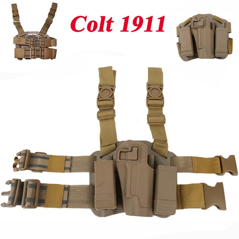 Colt 1911 Holster Tactical Hunting Quick Drop Leg Holster For Gun Colt 1911 Right Hand Pistol Airsoft Paintball Gun