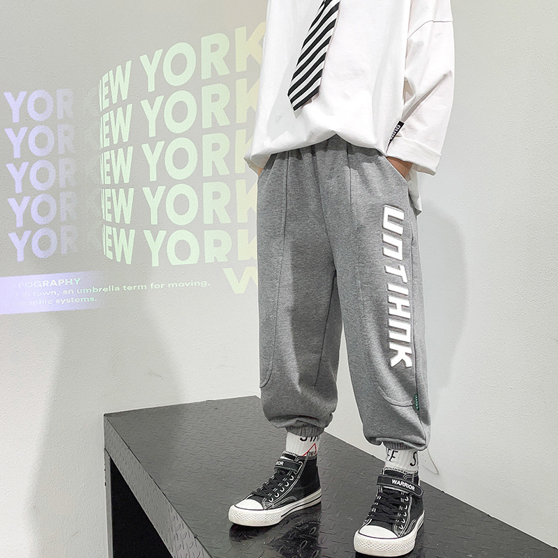 Loose Grey Spring Autumn Casual Pants Boys Kids Trousers Children Clothing Teenagers Sport In Stock High Quality