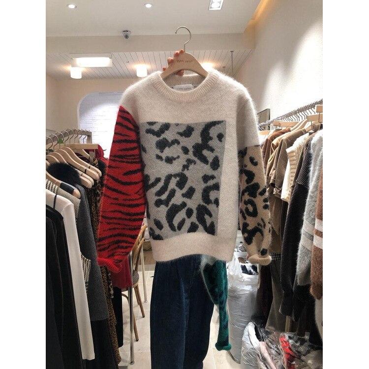 GRUIICEEN à manches longues hiver femmes chandail motif léopard surdimensionné tricot pull pulls GY2018363