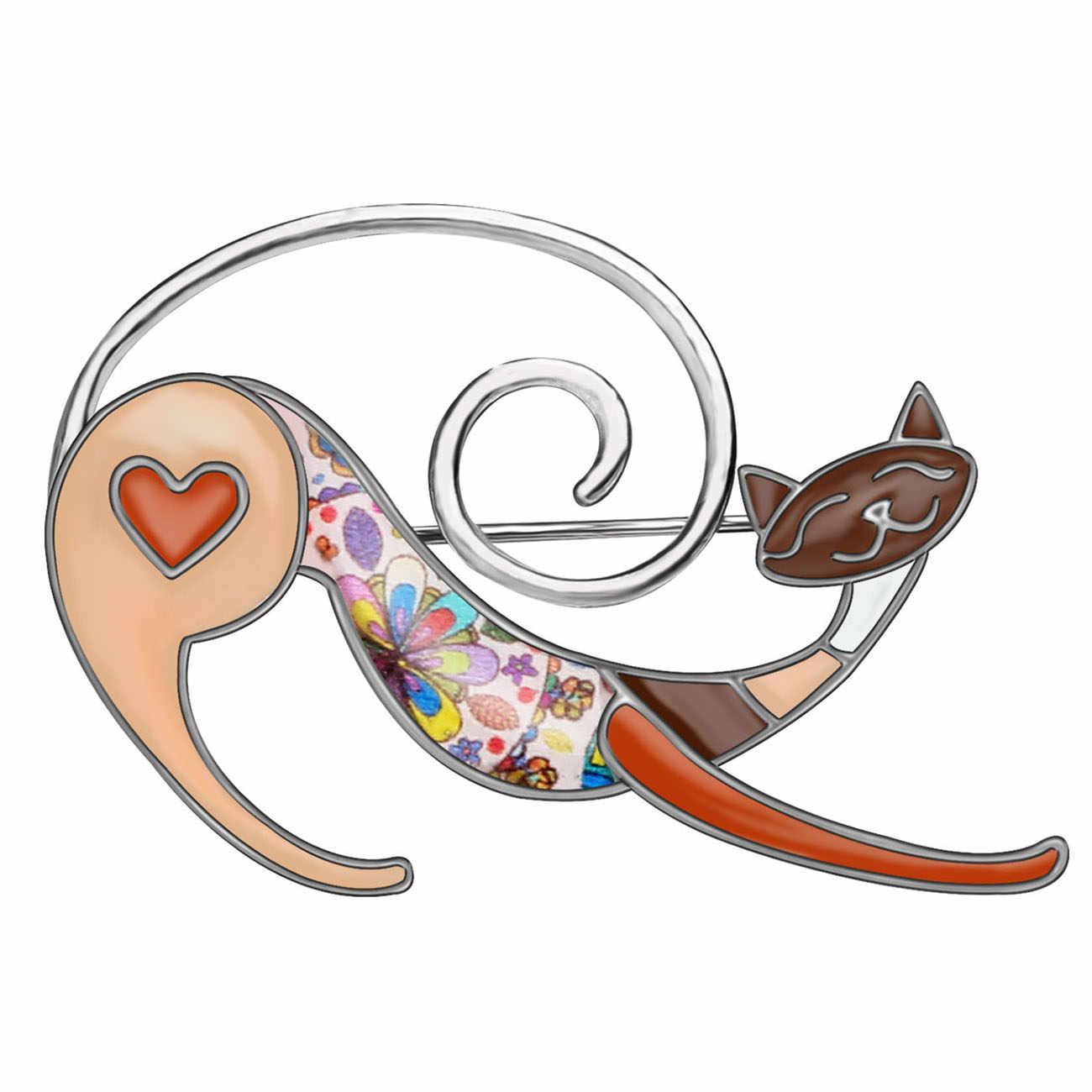 WEVENI Della Lega Dello Smalto Anime Floreale Gatto Gattino Spille Abbigliamento Sciarpa Decorazione Spille Animale Dei Monili Per Le Donne Ragazze Adolescenti Regalo 2019