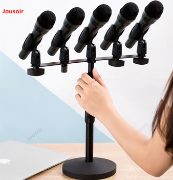 Microphone stand microphone desktop telescopic multiple clip heads for conference speech live universal metal base CD50 T07