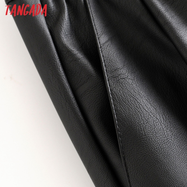 Tangada women black PU leather pants stretch waist drawstring tie pockets female autumn winter elegant trousers HY02 3