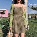 Kleid Nur] Frühling 2020 Koreanische neue ausländischen stil vielseitig avocado frucht grün retro plaid kleid kurze frauen plaid kleid