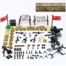 WW2 Military Weapon Accessories Building Blocks WW2 Soviet Union Army Soldiers Figures Gun Helmet Parts Bricks Toys For Children