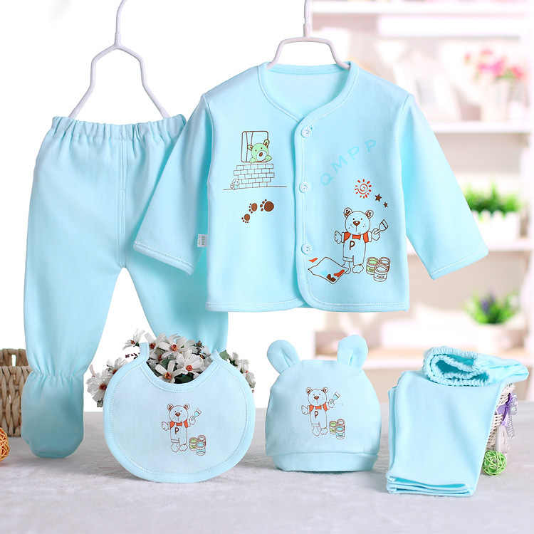 CYSINCOS 5Pcs/Set Newborn Baby Clothing Sets Boy Girls Cartoon Pattern Pajamas Sleepwear 0-3M Gift For Infant Underwear Clothes