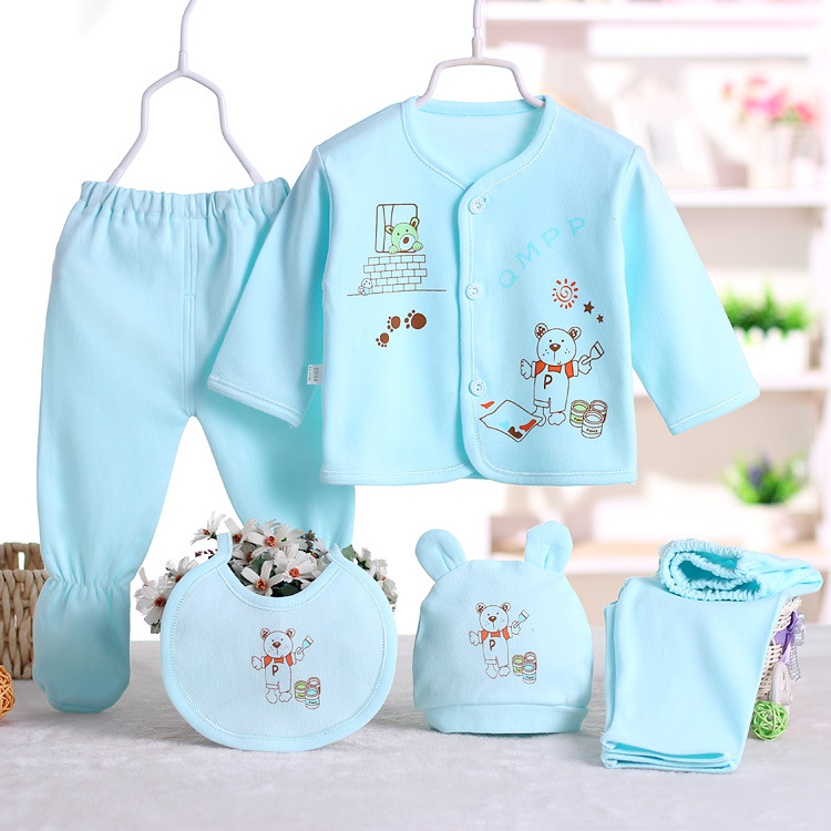 CYSINCOS 5Pcs/Set Newborn Baby Clothing Sets Boy Girls Cartoon Pattern Pajamas Sleepwear 0-3M Gift For Infant Underwear Clothes