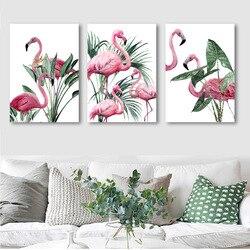 Декор в скандинавском стиле для гостиной, Картина на холсте с фламинго, украшение для гостиничного дома, подвесная картина, плакаты и принты...