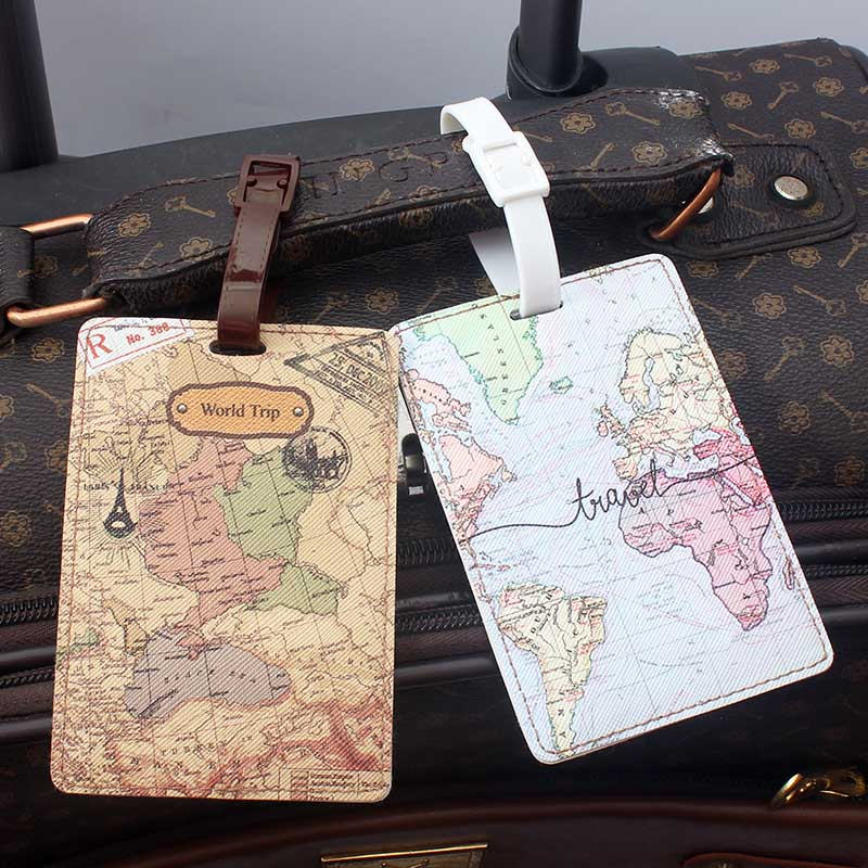 Newest World Map Luggage Tag Women Travel Accessories PU Suitcase ID Address Holder Baggage Boarding Tag Portable Label