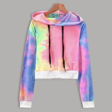 ZOGAA Women Gradient Hooded Crop Top Hoodies Pullovers 2019 New Fashion Pink Purple Sweatshirts