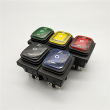 цена на KCD4-203 20A/250VAC 30x22 Waterproof Rocker Switch 6pin DPDT ON OFF ON 12V 220V Red Green LED Light Rocker Switch