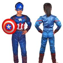 Costume Cosplay Girls Muscle-Captain-America Superhero Kids for Boys S-L Child