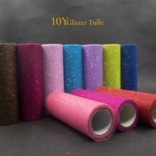 10Yards 15Cm Glitter Tulle Rolls Sparkly Glitter Sequin Tulle Mesh Baby Shower Tutu Rok Organza Tafelloper Bruiloft decor